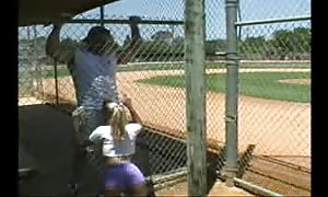 Metal fence is not a barrier for this dick licking slut