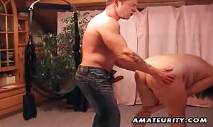novice couple homemade hardcore action on a strap-on dildo system: mouth-fuck, anus playing and fuck ending with cum-shot. awesome.