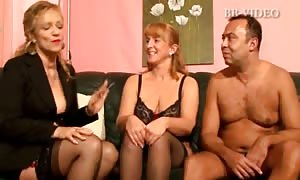 Two overweight lady german old females in hot g-string slurps one fortunate hard-on