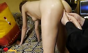 Her delicious rounded booty is getting your mitts on pounded by a lengthy faux dick