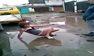 Russian hooker in a muddy puddle