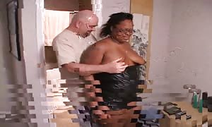 bbw black female is deep-throating a rock-hard manhood without victimizing hands