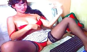hot curly-haired black-haired drills her small brown-eye with a pretend