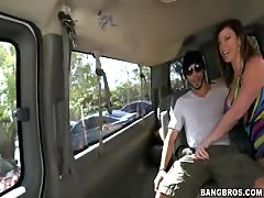 Tricked dude getting into hot sex with milf in the Bangbus