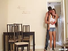 Sexual games with a slender blindfolded teen in the bedroom