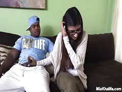 Hottie Mia Khalifa gives a handjob to a hung black guy for starters