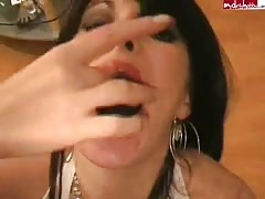 Horny brunette with pierced tongue is giving the best blowjob