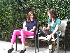 Angelic Spandex babes are relaxing outdoors in the garden