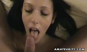 A very sweet black-haired brand new cummer girlfriend home made hardcore action with face-fuck and fuck ending with hand job and money shot !
