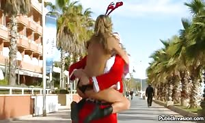 horny Santa in the height of the height of summer drills teenager cutie outside