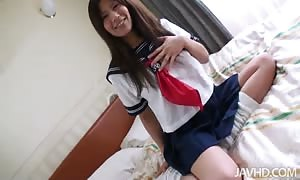 Smiling asian cutie is getting your mitts on very pleased in master main bedroom
