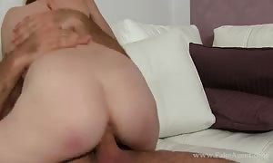 slim red haired babe fucks in her favorite doggy style pose in try-out