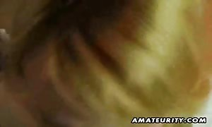 A busty blonde new comer girl-friend amateur hard-core action with face-fuck and bang and jizz tonguing.